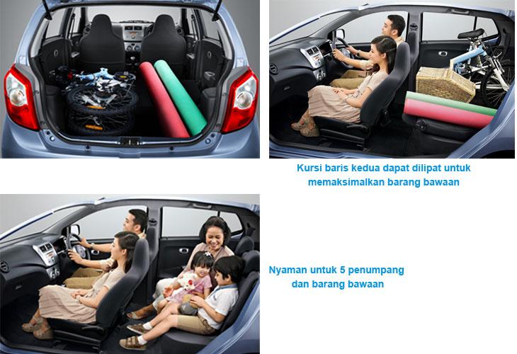 konfigurasi kabin kursi dan bagasi daihatsu ayla 2013