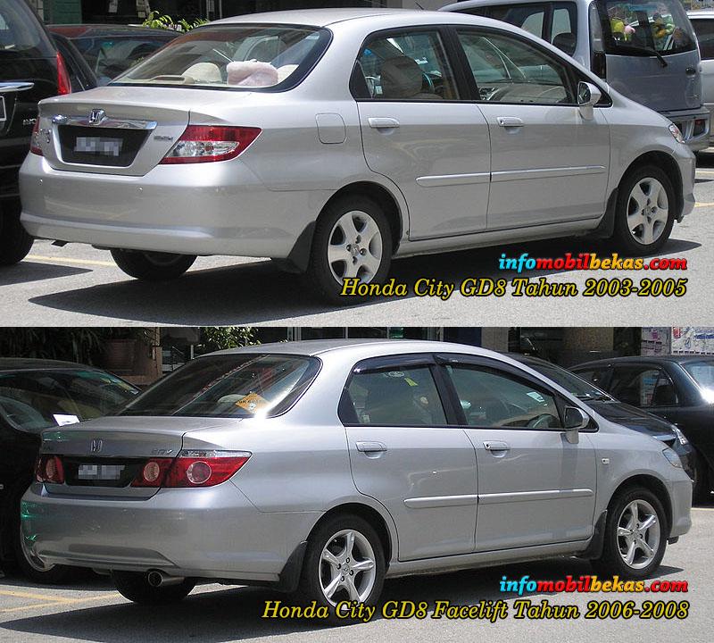 perbandingan eksterior belakang honda city gd8 tahun 2003-2005 dengan honda city gd8 facelift  tahun 2006-2008