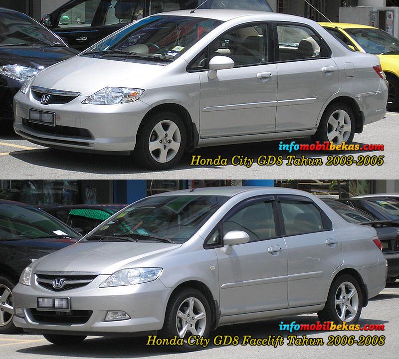 perbandingan eksterior depan honda city gd8 tahun 2003-2005 dengan honda city gd8 facelift  tahun 2006-2008