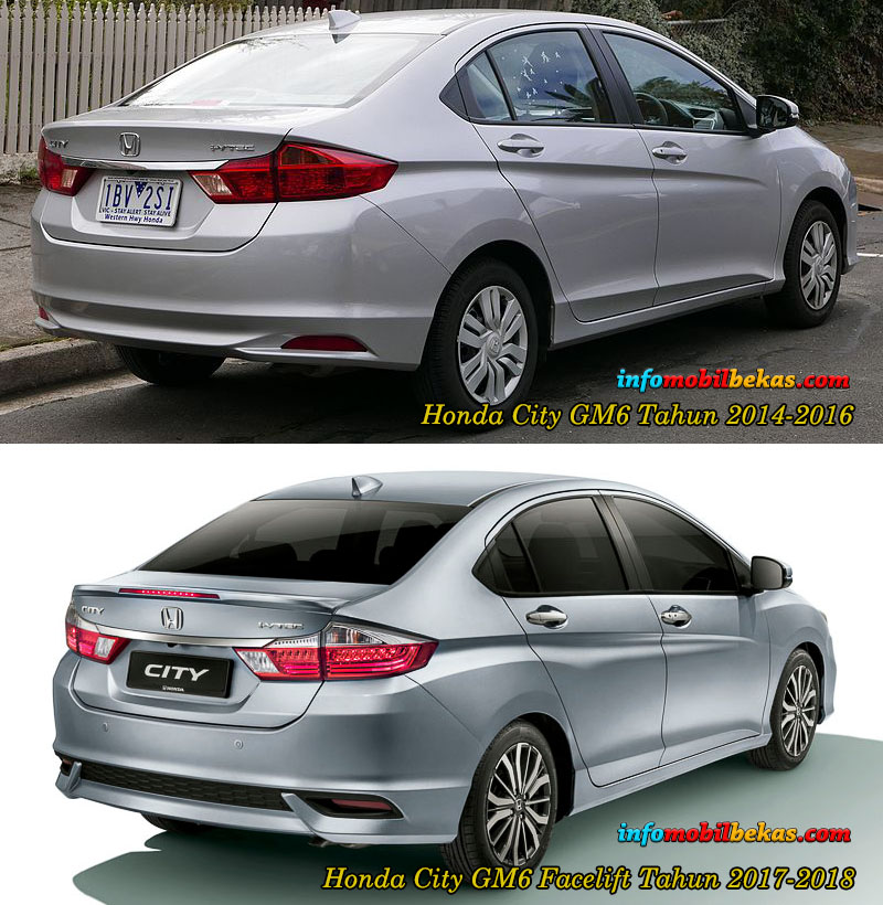 perbandingan eksterior belakang honda city gm6 dan facelift 2017